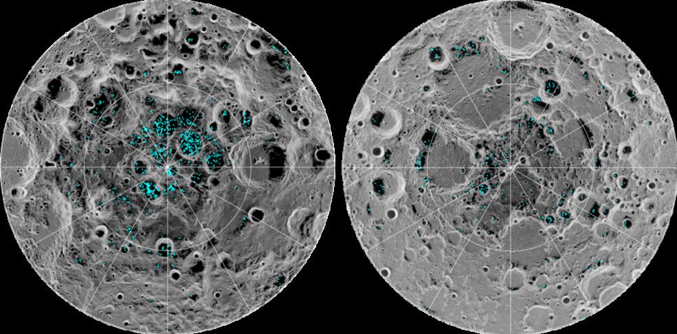 Nasa обнаружило ледники на поверхности Луны