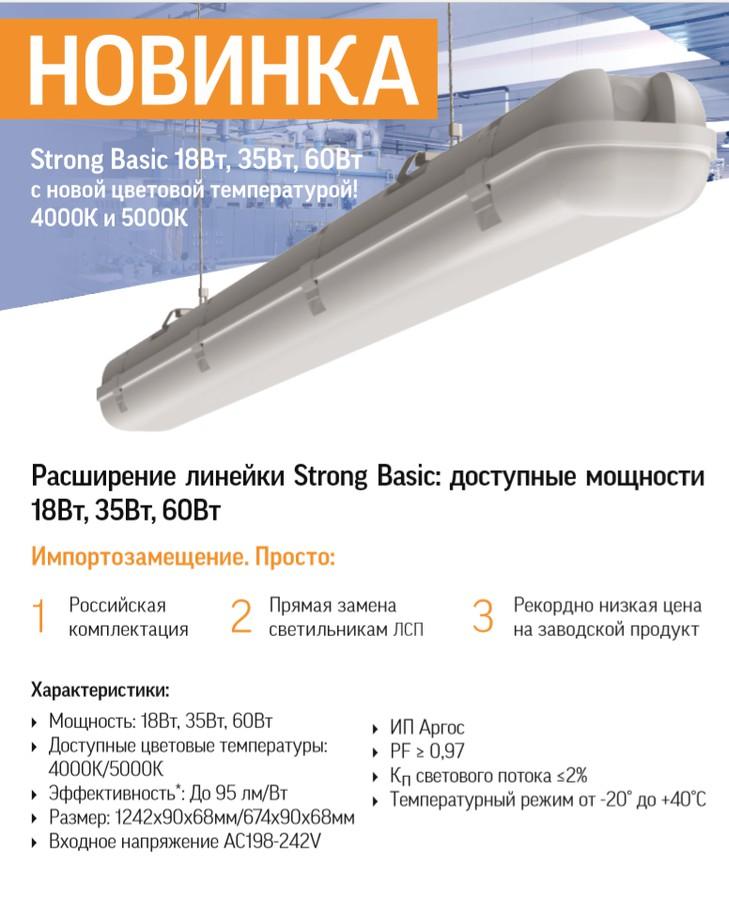 Varton пополнил ассортимент светильников Strong Basic: 18Вт и 60Вт