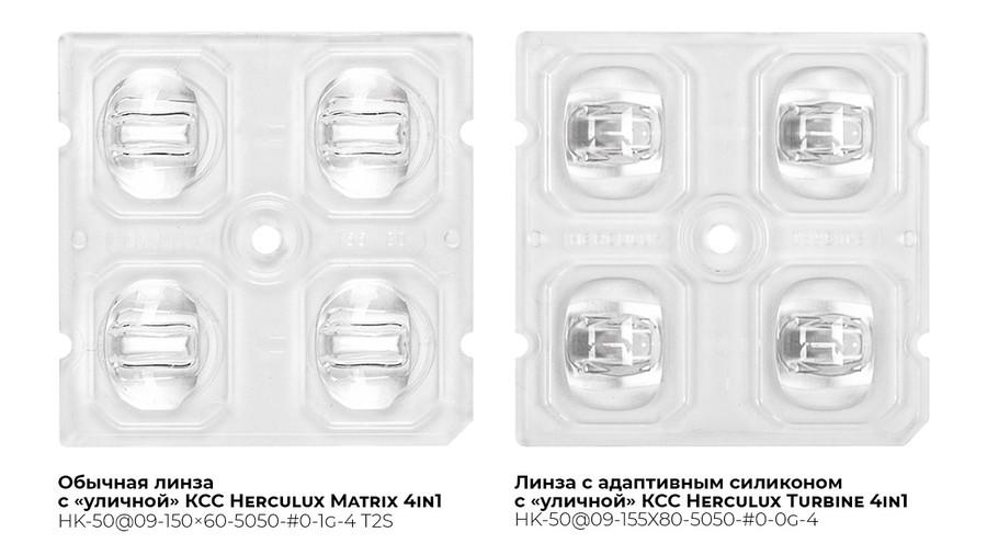 Сравнение внешнего вида обычной линзы и линзы с адаптивным силиконом